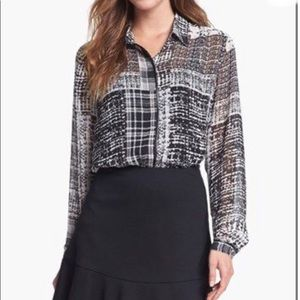Vince Camuto Long Sleeve Mixed Pattern Blouse